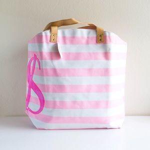 VS - Pink Stripes Tote Bag with VS Logo on Side